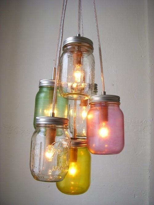 Lámparas hechas con botes de cristal