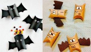 manualidades-Halloween-colgantes-rollo-muercielagos