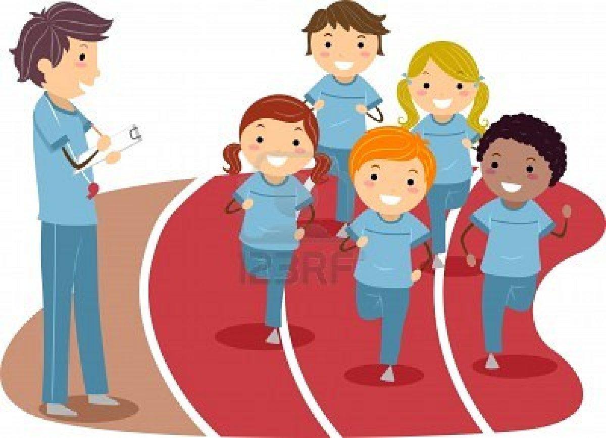 Cartoon Kids Running Track