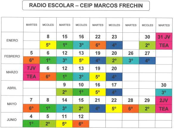 Calendario radio Primaria