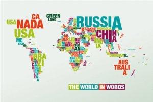 Mapa del Mundo con letras